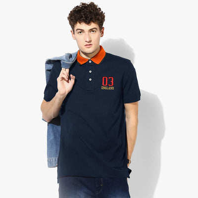 Polo Republica 03 England Short Sleeve Polo Shirt Men's Polo Shirt Polo Republica Navy Orange S