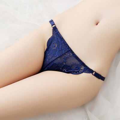 Floral Pattern Sexy Lace Temptation Thong Women's lingerie Sunshine China Navy