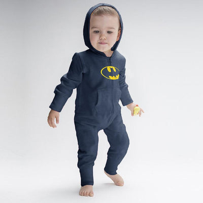 Batman Baby Full Body Romper Babywear Image Navy Yellow 6-12 Months