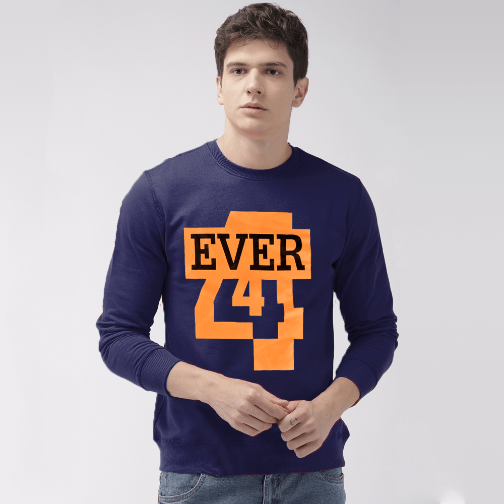EGL Men's Forever Printed Fleece Sweat Shirt Men's Sweat Shirt Image Navy XS