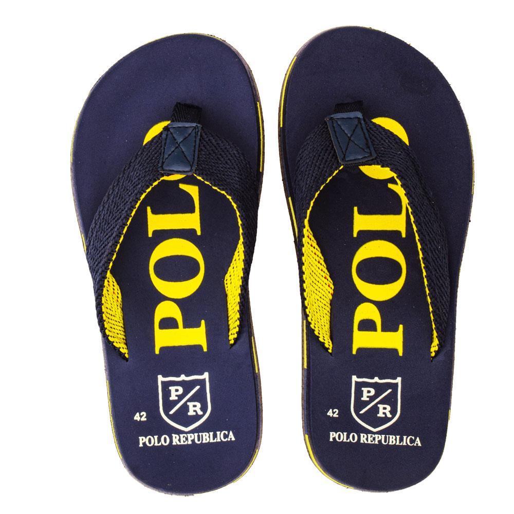 Polo Republica Men's Strider Ultra-Light Soft Flip Flops Slippers Men's Shoes Hamza Traders Navy & Yellow EUR 40