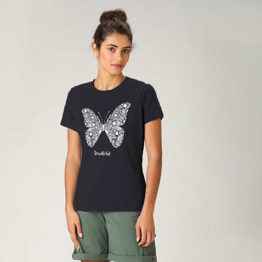 Women's Butterfly Crew Neck Tee Shirt Women's Tee Shirt Image Navy XS