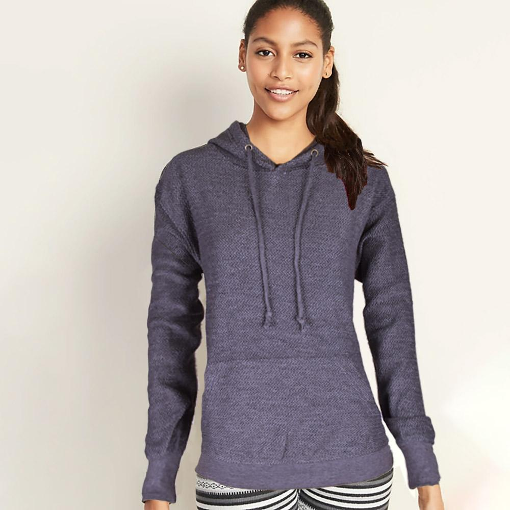 Basix Of America Women's Terry Pullover Hoodie Women's Pullover Hoodie SRK Navy S