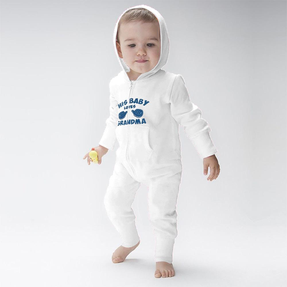 Super Star this baby loves Grandma Romper Babywear Image Off White 6-12 Months