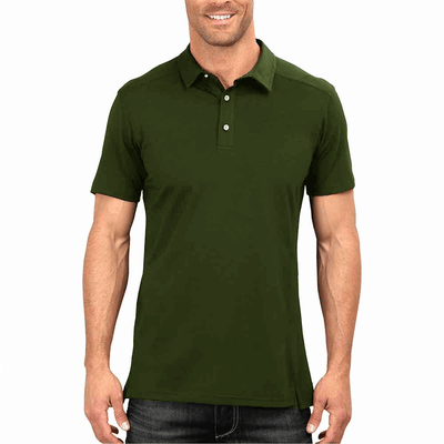 DNY Classic Solid Short Sleeve Polo Shirt Men's Polo Shirt Image Olive XS