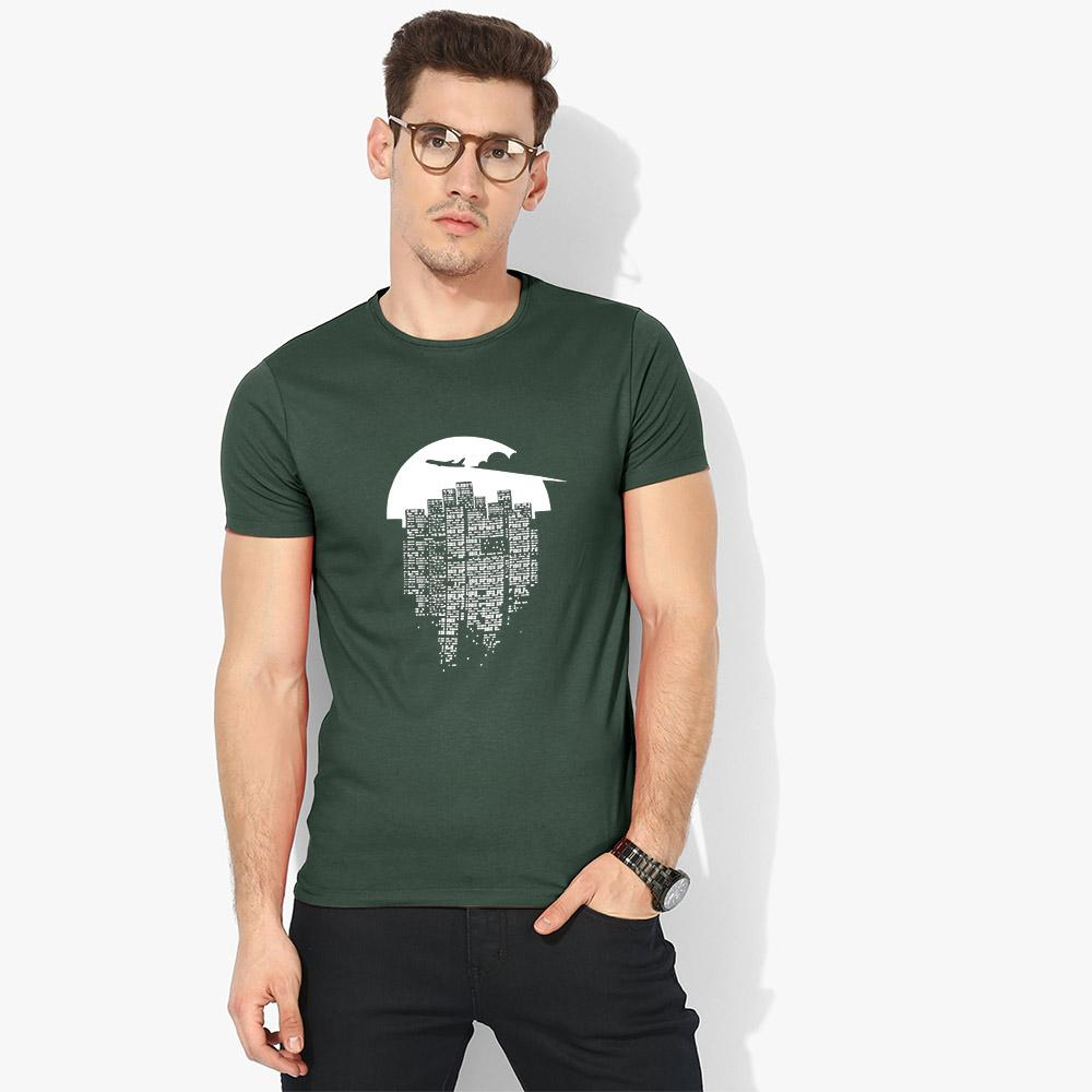 LE Tinglev Crew Neck Tee Shirt Men's Tee Shirt Image Bottle Green S