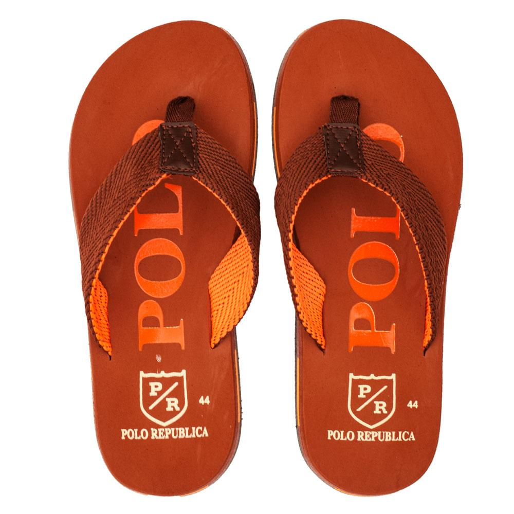 Polo Republica Men's Strider Ultra-Light Soft Flip Flops Slippers Men's Shoes Hamza Traders Brick Red & Orange EUR 40