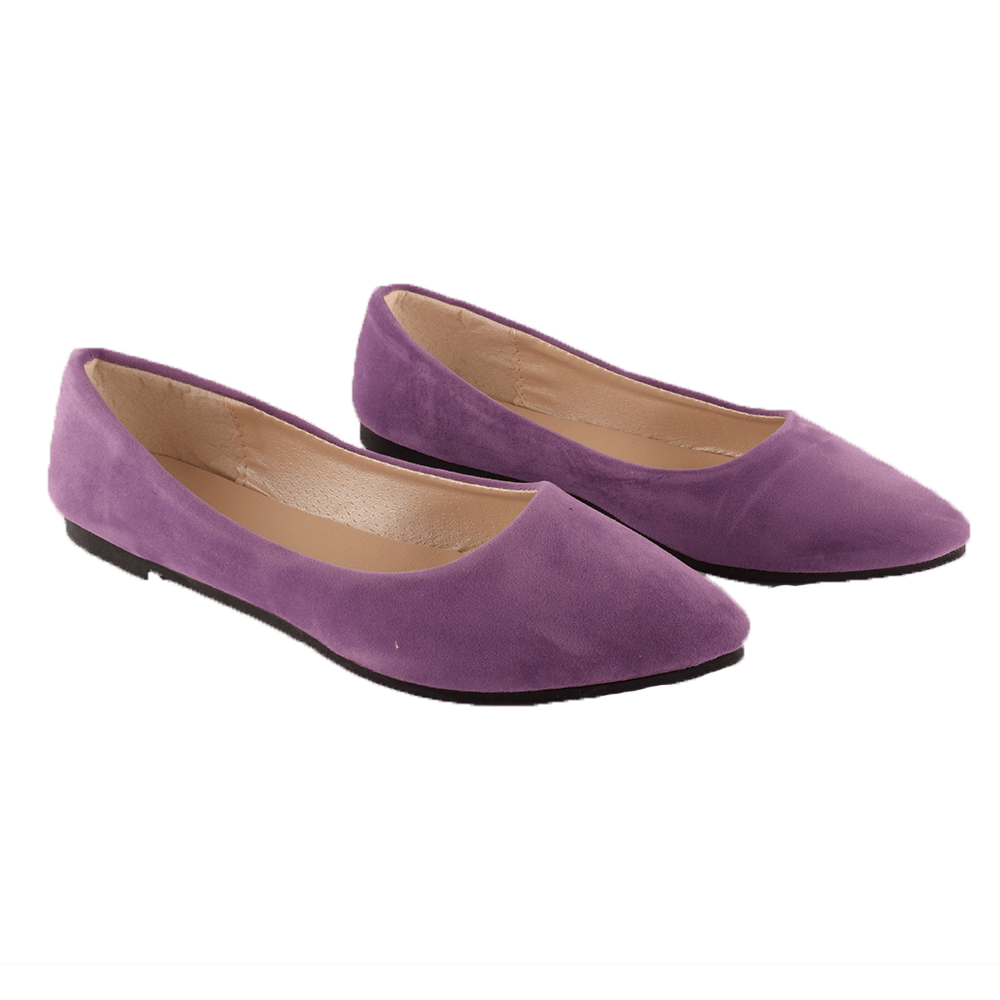 Pointy Toe Velvet Ballet flat Shoes Women's Shoes Sunshine China Purple EUR 35