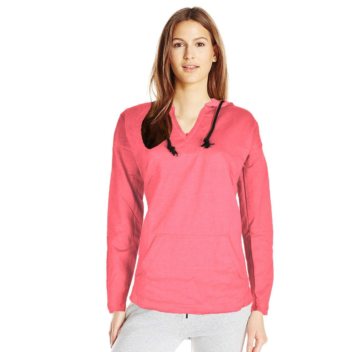 J4W Women's Chic V-Neck Cropped Hoodie Women's Pullover Hoodie SRK Peach M