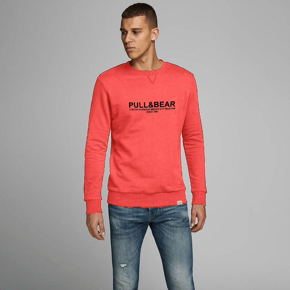 Pull&Bear Men's London to Moscow Printed SweatShirt Men's Sweat Shirt First Choice Peach XS