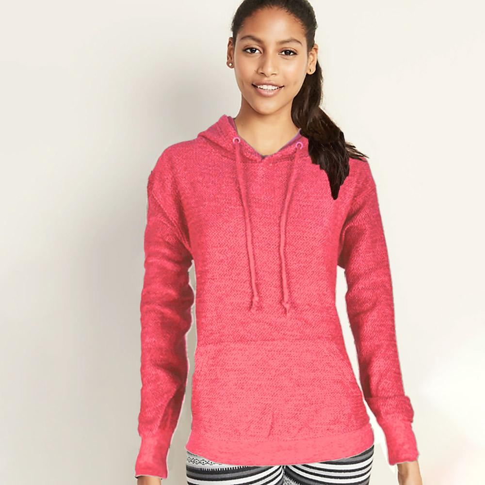Basix Of America Women's Terry Pullover Hoodie Women's Pullover Hoodie SRK Pink S
