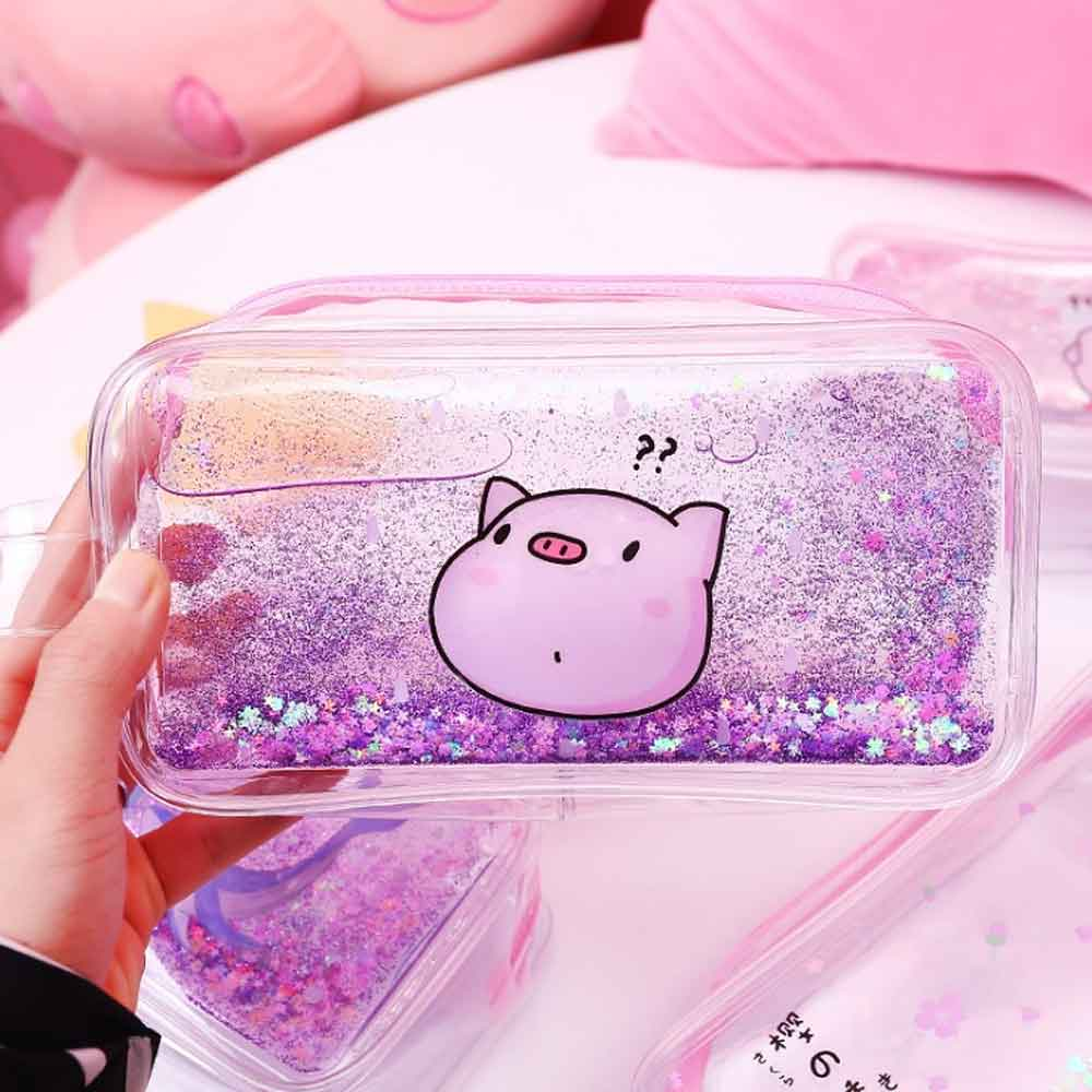 Scratch Free Translucent Quicksand Piggie Stationery Bag Stationary & General Accessories Sunshine China Blue