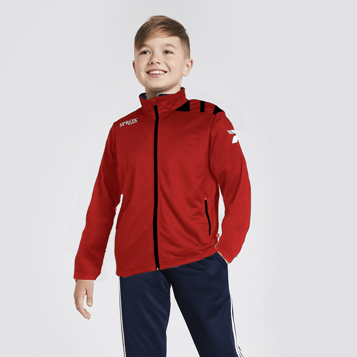 PTRK Boy's Full Zip Sportswears Poly Jacket Boy's Jacket SRK Red Black 4XS