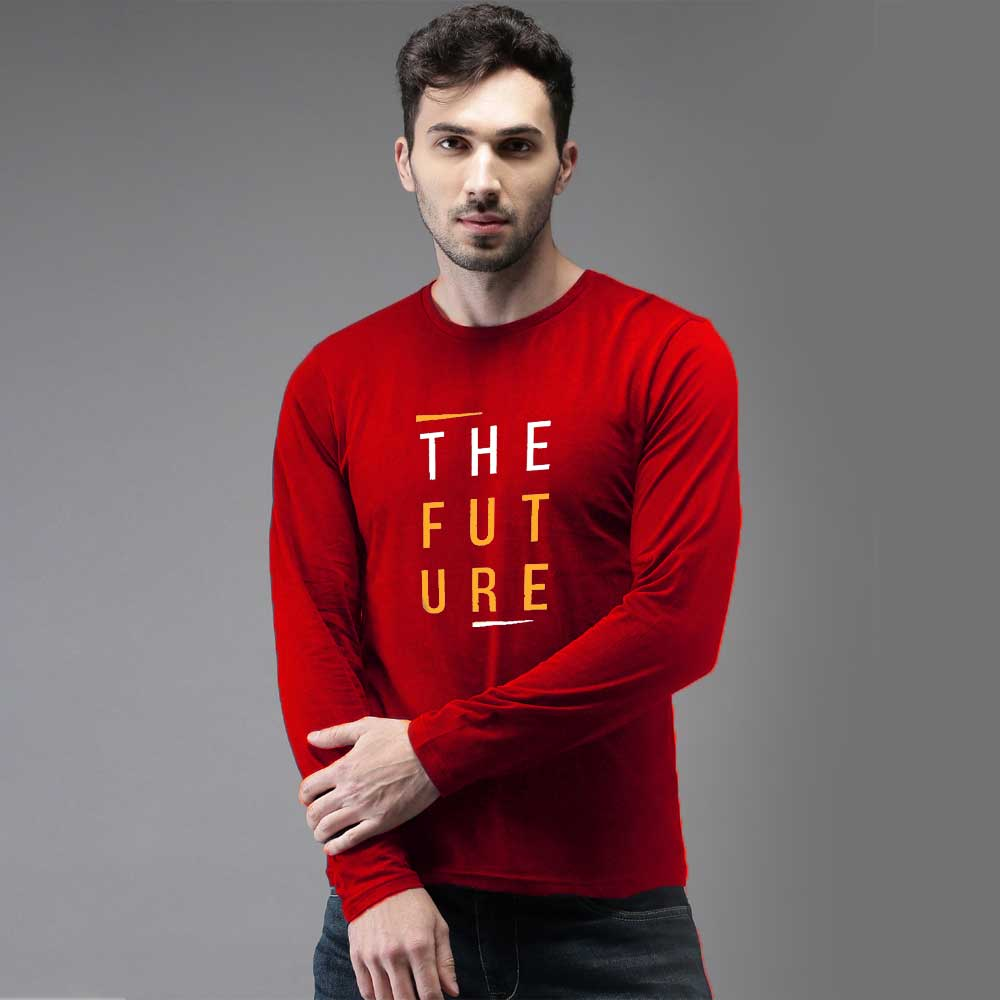 The Future Long Sleeve Crew Neck Tee Shirt Men's Tee Shirt Image Red & Yellow S