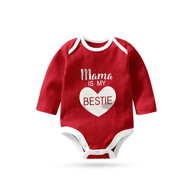 Polo Republica Mama Is My Bestie Pique Baby Romper Babywear Polo Republica Red White 0-3 Months
