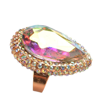 Exaggerated Crystal Opening Index Finger Ring Jewellery Sunshine China Multi