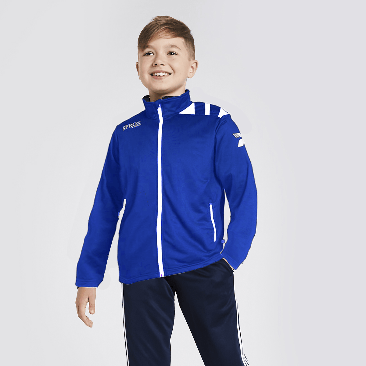 PTRK Boy's Full Zip Sportswears Poly Jacket Boy's Jacket SRK Royal White 4XS