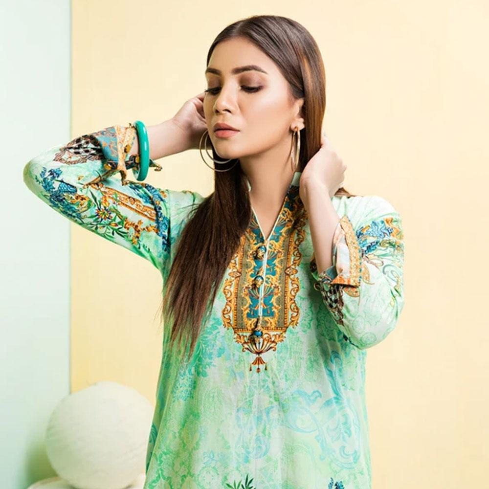 Minaal Spanish Green Digital Print Unstitched Lawn Kurti Women's Un Stitched Kurti URA