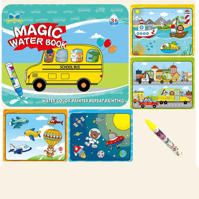 Kid's Magic Water Drawing Book Toy Sunshine China School Bus