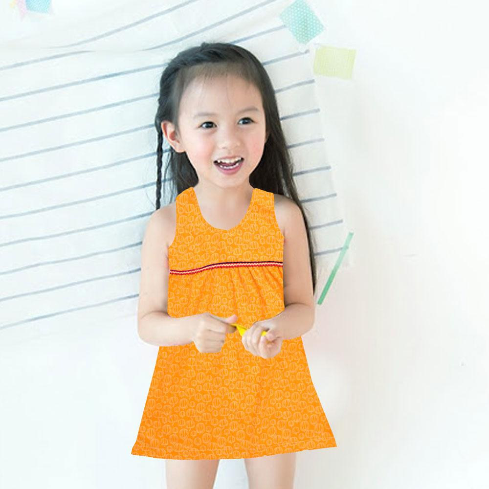 Safina Kid's Ensley Pumpkin Printed Sleeveless Frock Girl's Frock Bohotique 2-3 Years