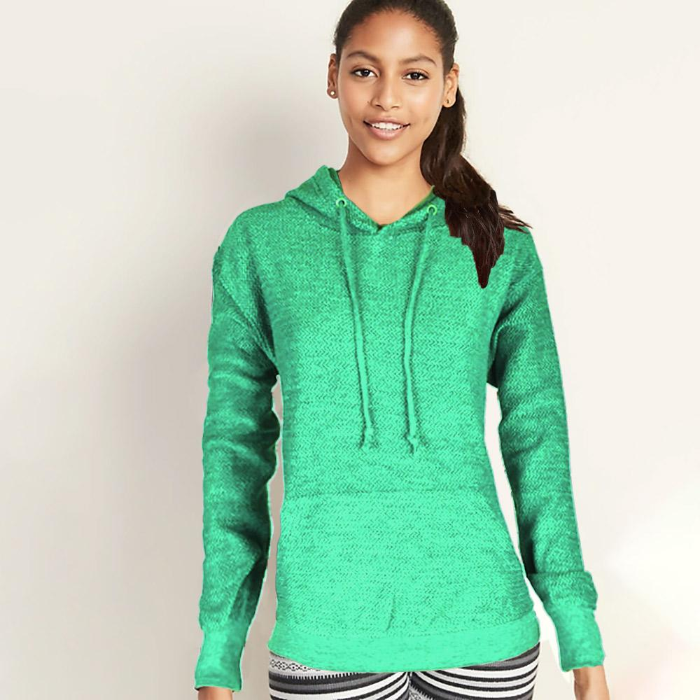 Basix Of America Women's Terry Pullover Hoodie Women's Pullover Hoodie SRK Sea Green S