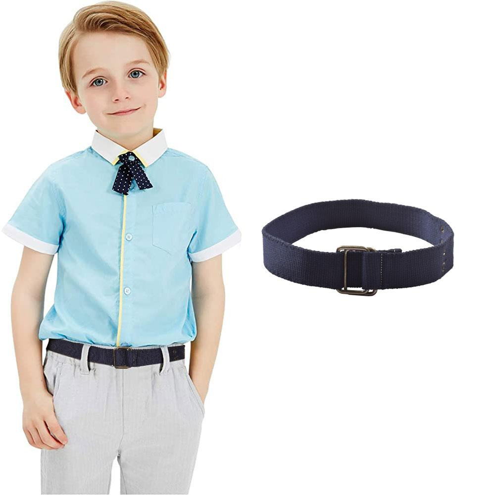 Kids Navy Canvas Square Ring Belt