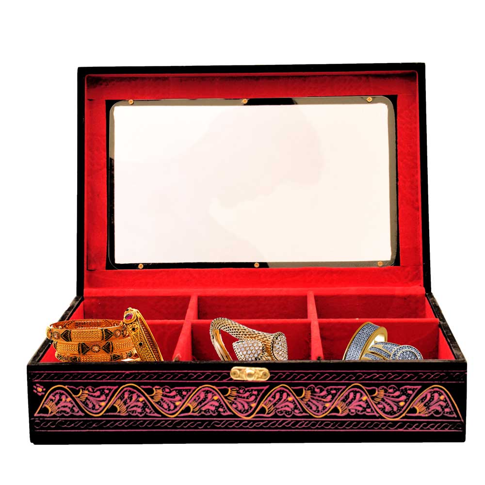 Handcrafted Lacquer Art Mirrored Wooden Jewelry Box Jewellery SAK Pink