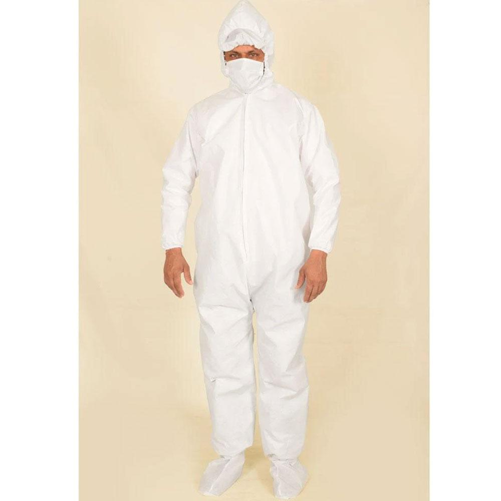 Unisex 50 GSM PPE Hazmat Protective Hooded Suit with Attached Shoe Covers Hazmat Suit IBT White