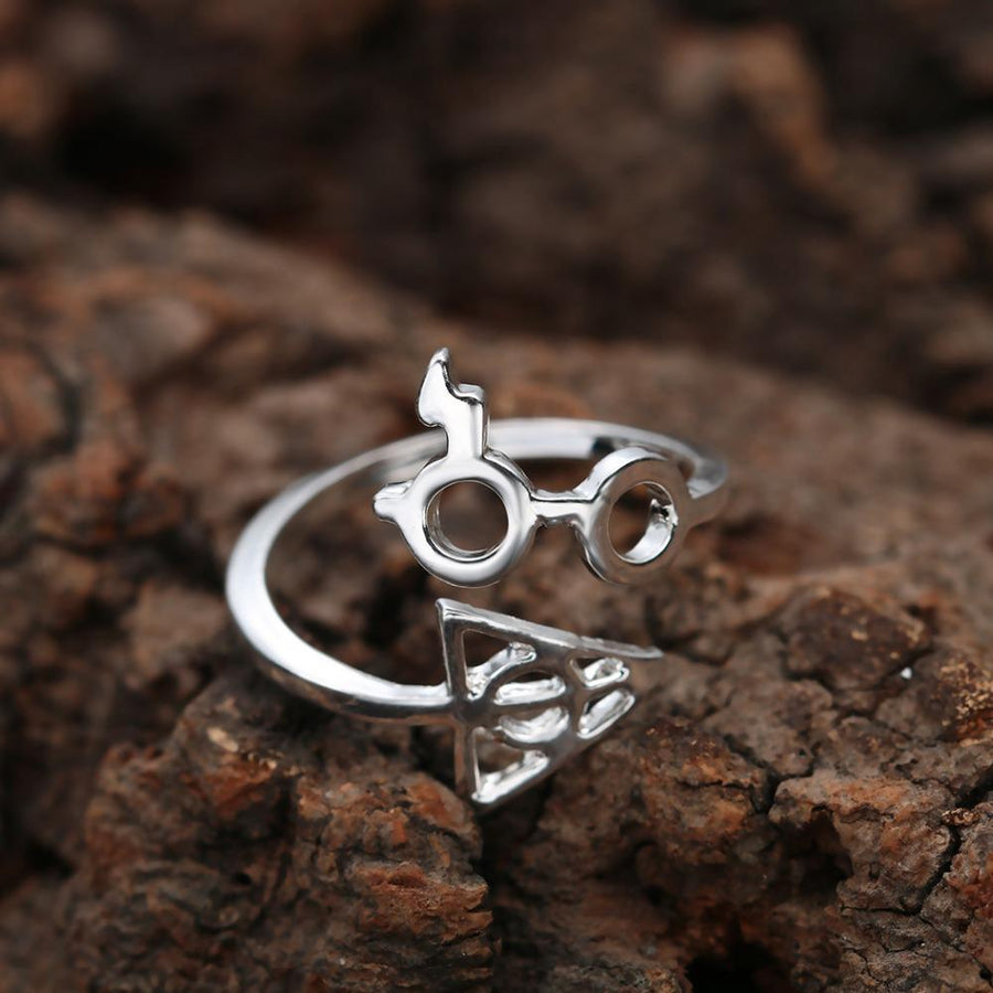 Lightning Scar Glasses Deathly Hallows Finger Ring