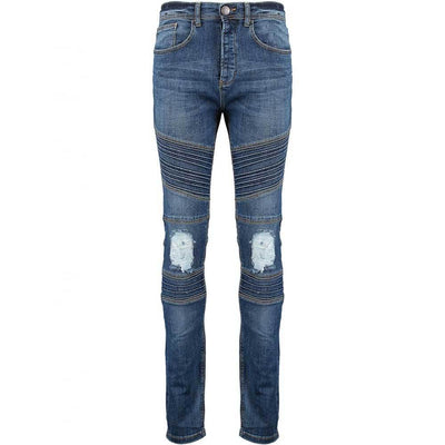 TDS Biker Detail Skinny Stretchable Denim Men's Denim SRK Dark Blue 28 32