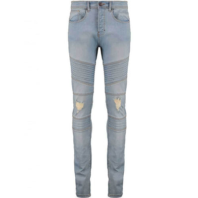 TDS Biker Detail Skinny Stretchable Denim Men's Denim SRK Light Blue 28 32