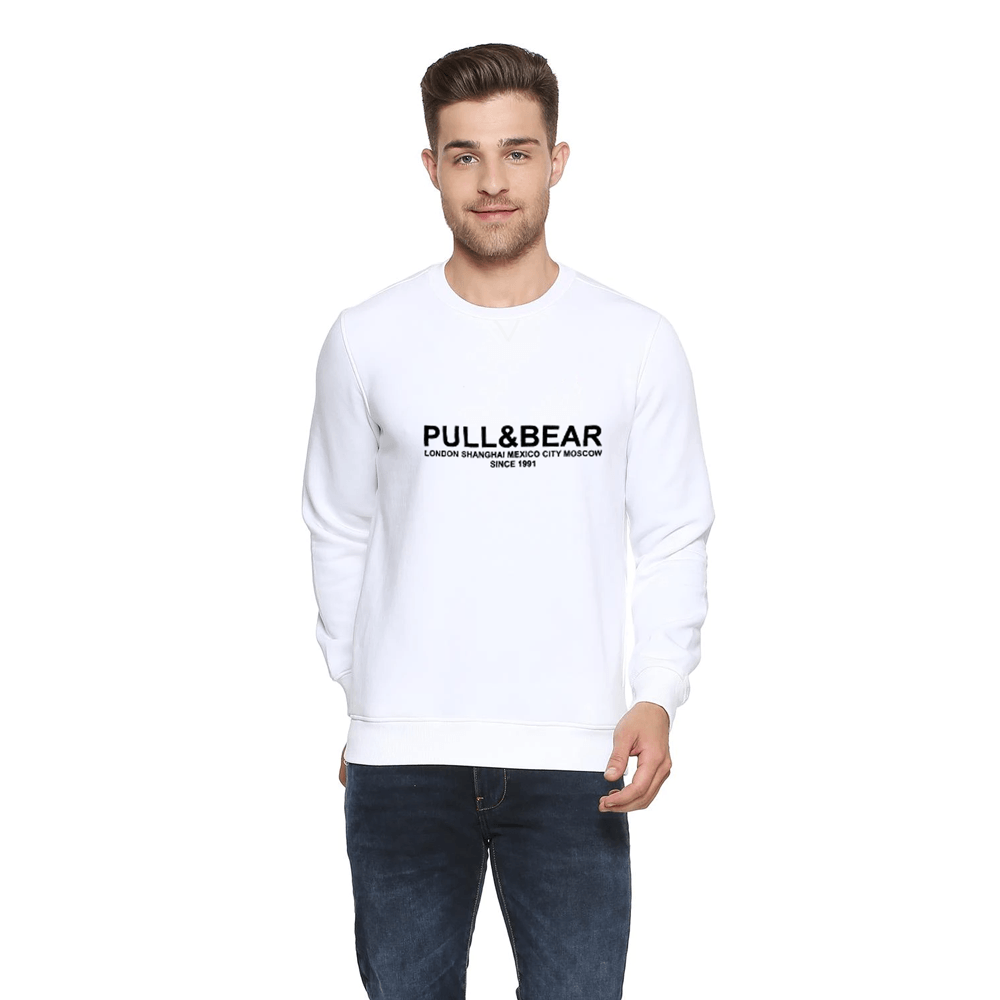 Pull&Bear Men's London to Moscow Printed SweatShirt Men's Sweat Shirt First Choice White XS