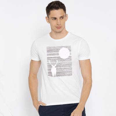 LE Night Deer Tee Shirt Men's Tee Shirt Image White S