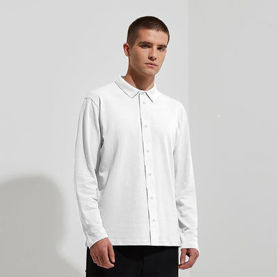 BMN Pique Button-Down Polo Shirt Men's Polo Shirt SNC White S