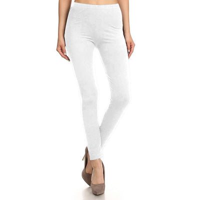 HUD Women's Buttery Soft Solid Leggings Women's Trousers MHJ White S