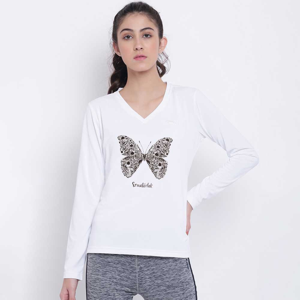 BYD Women's Butterfly V-Neck Tee Shirt Women's Tee Shirt Image White XS