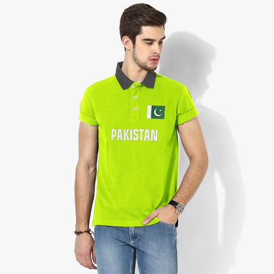 Polo Republica Pak Flag Polo Shirt Men's Polo Shirt Polo Republica Fluorescent Yellow Graphite S