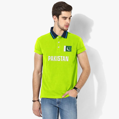 Polo Republica Pak Flag Polo Shirt Men's Polo Shirt Polo Republica Fluorescent Yellow Navy S