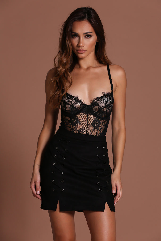 Teddy Lace Bodysuit - Black