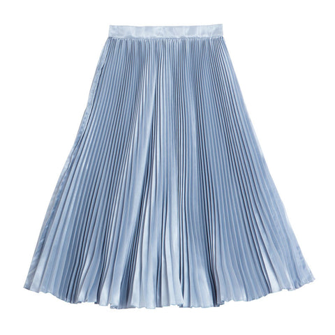 กระโปรงพลีท Italian Silk Pleated Skirt - Azure grey