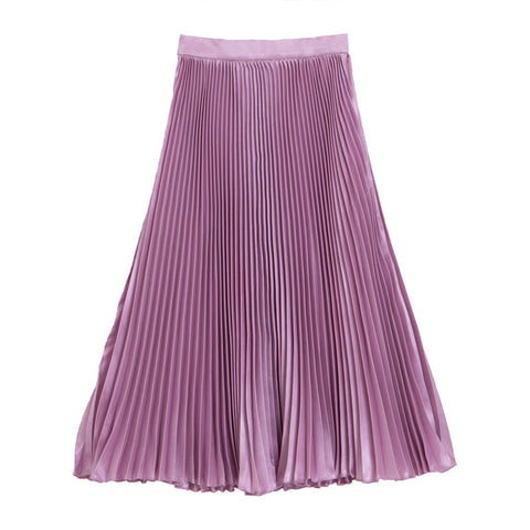 กระโปรงพลีท Italian Silk Pleated Skirt - Lotus pink
