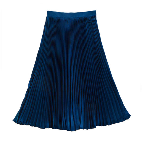 กระโปรงพลีท Italian Silk Pleated Skirt - Prussian blue