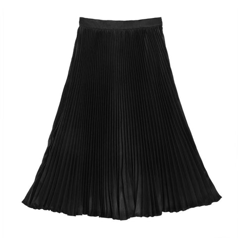กระโปรงพลีท Italian Silk Pleated Skirt - Super black