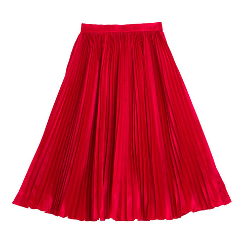 กระโปรงพลีท Italian Silk Pleated Skirt - Foxy red
