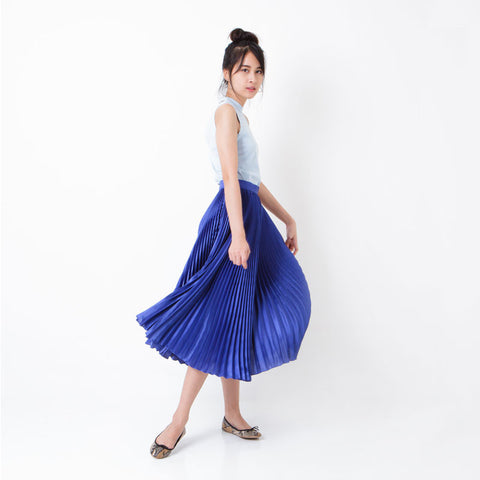 กระโปรงพลีท Italian Silk Pleated Skirt - Cobalt blue
