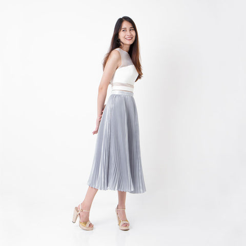 กระโปรงพลีท Italian Silk Pleated Skirt - Ash grey