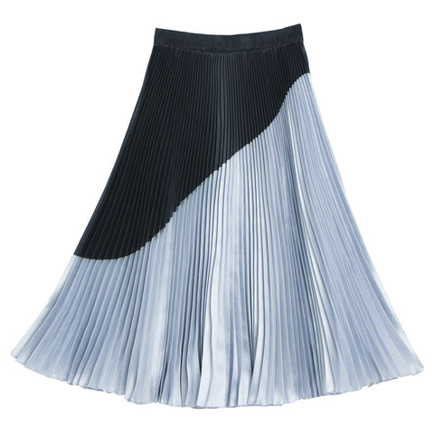 กระโปรงพลีท Duet Pleated Skirt - Azure Grey & Black