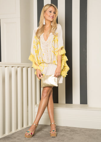 Giselle Tassel Kaftan, Luxury fashion Dublin, ibiza dress, dubai fashion, las vegas dress,