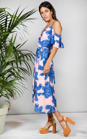 Dancing Leopard Ivy Blue On Nude Bloom dress