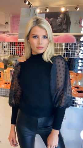 timba-polka-dot-sheer-sleeve-sweater-black